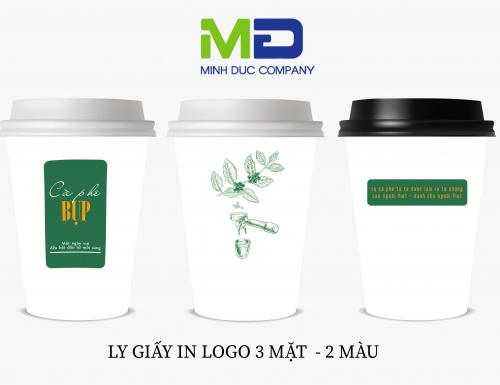 LY GIẤY IN LOGO BỤP COFFEE