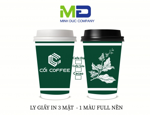 LY GIẤY IN LOGO CỐI COFFEE